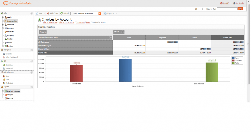 Sales Managment: Invoice Reports CRM