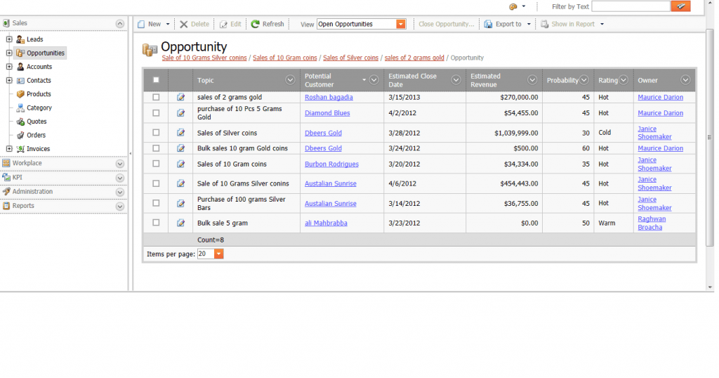 Sales Managment: Sales Opportunity Logging CRM